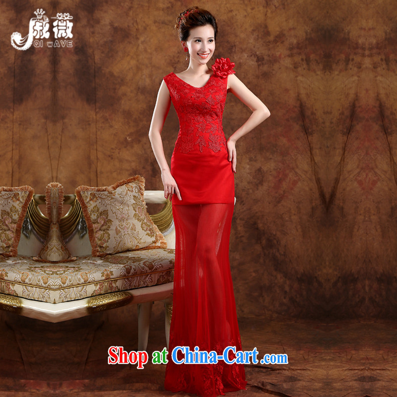 Wei Qi dress summer 2015 new Korean double-shoulder lace dress female marriages are deeply V toast serving red long crowsfoot banquet hosted at red Custom for the $30