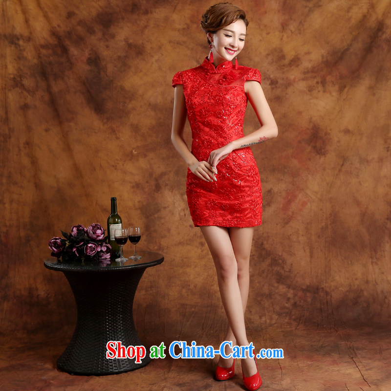 Qi wei summer 2015 new Korean red short lace package shoulder marriages served toast beauty package and goods improved retro dresses wedding dresses red Custom for the $30