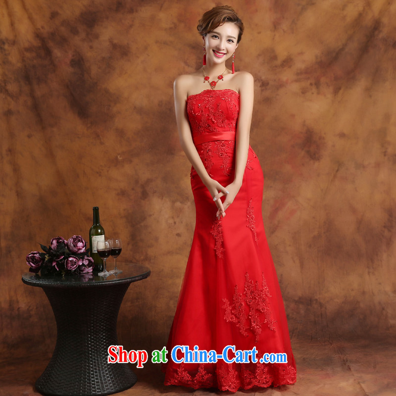Qi wei summer 2015 new Korean dress wiped chest dress red dress lace crowsfoot dress uniform toast marriages long evening dress moderator show red Custom for the $30