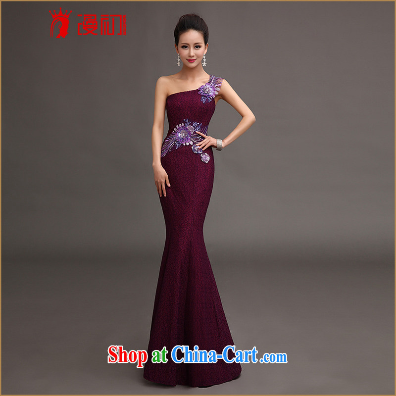 Early SPREAD THE SHOULDER cultivating graphics thin dress 2015 New Red crowsfoot dress bridal wedding toast serving long purple XXL