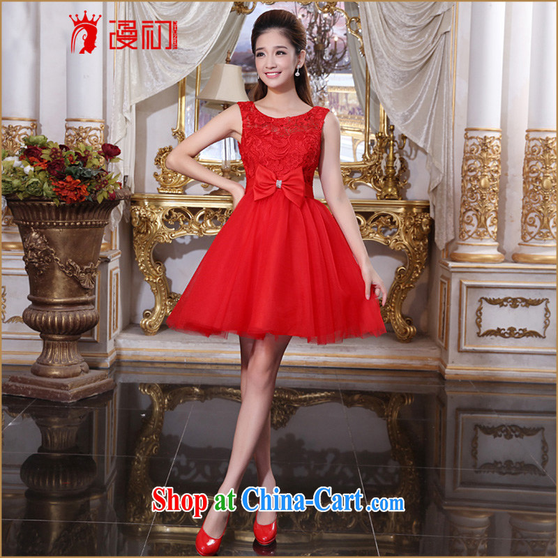 Early definition 2015 new marriage toast Service Bridal wedding dress shoulders short bridesmaid serving small dress female Red double-shoulder type XXL