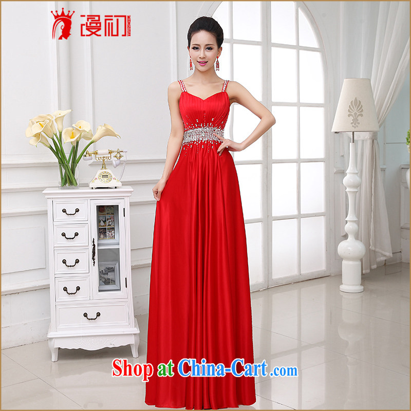 Early definition 2015 new wedding dresses elegance strap toast wedding service long-field shoulder evening dress red XXL