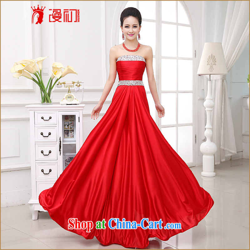 Early definition wedding dresses 2015 new wedding wedding bridal wedding toast serving stylish wiped chest diamond jewelry Evening Dress red XXL