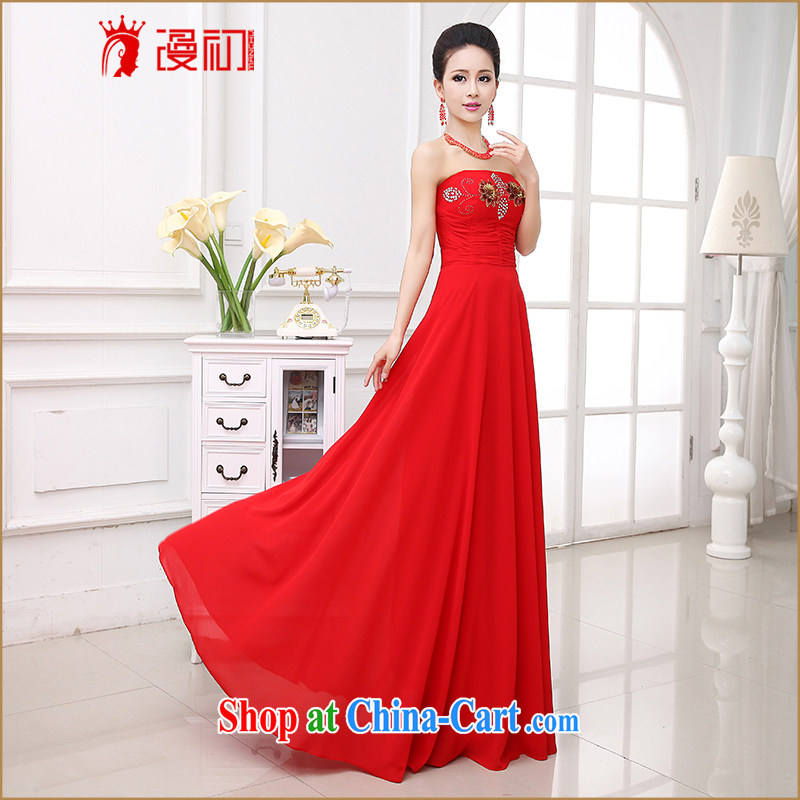 Early animated evening dress 2015 new marriage toast clothing retro flowers Korean long erase chest bridal dresses female Red XXL