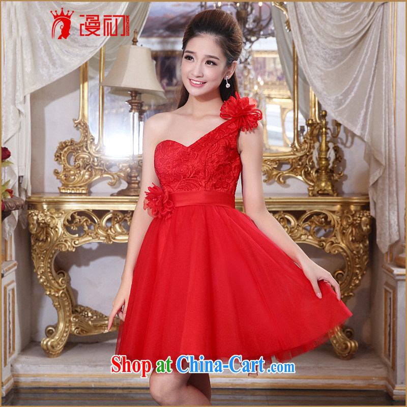 Spread dresses early 2015 New Red single shoulder dress short marriages served toast lace bridesmaid clothing red XXL