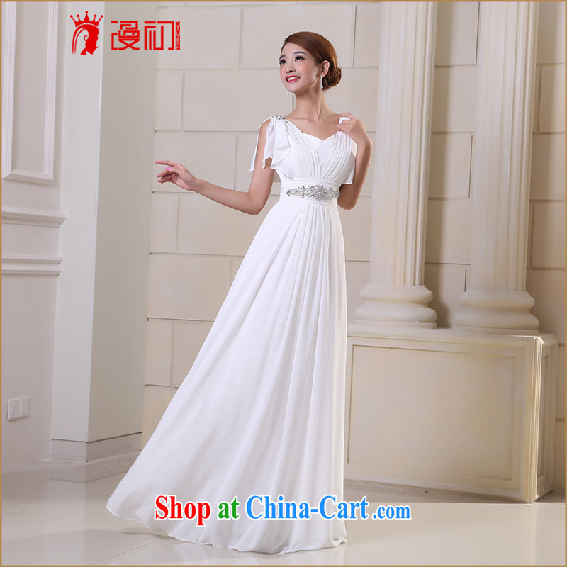 Early definition 2015 new bridal dresses shoulders long evening dress wedding toast clothing bridesmaid long white gown XXL