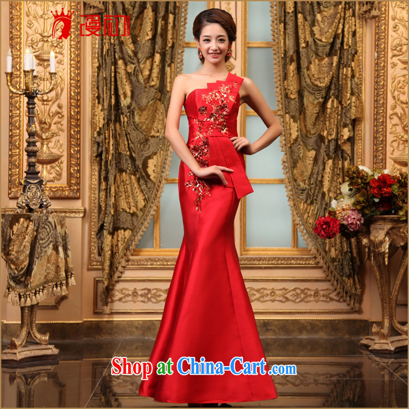 Early definition 2015 new dress bridal red long dress Banquet hosted at Merlion dress toast wedding dress tie-waist XXL