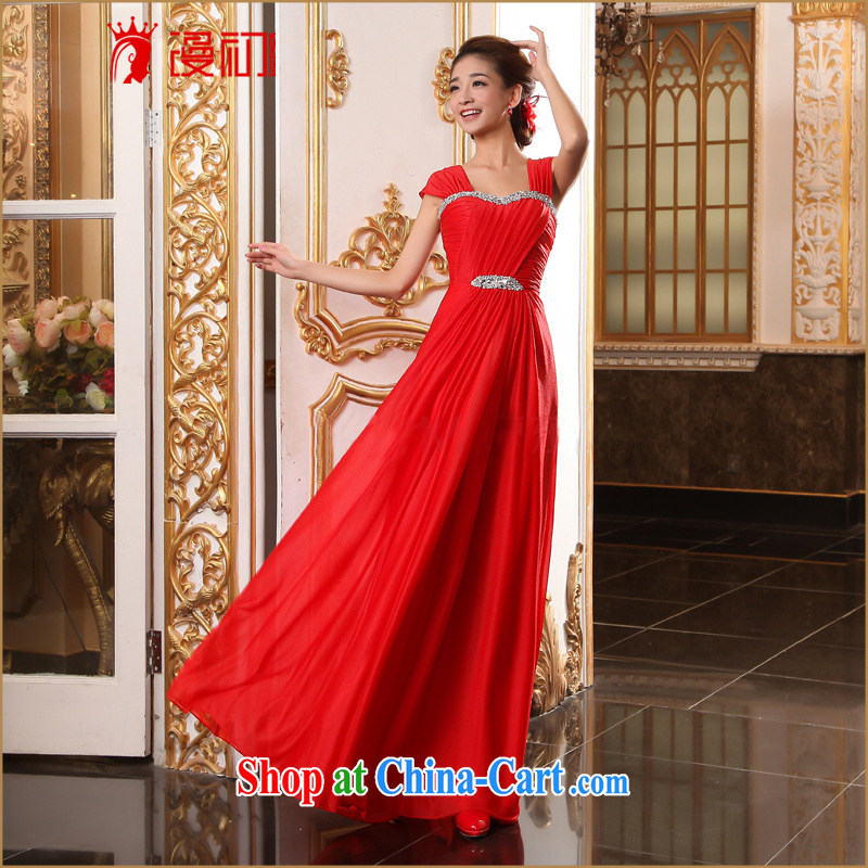 Early definition bridal dresses chest bare dress long evening dress wedding red bows service beauty dress L red XXL