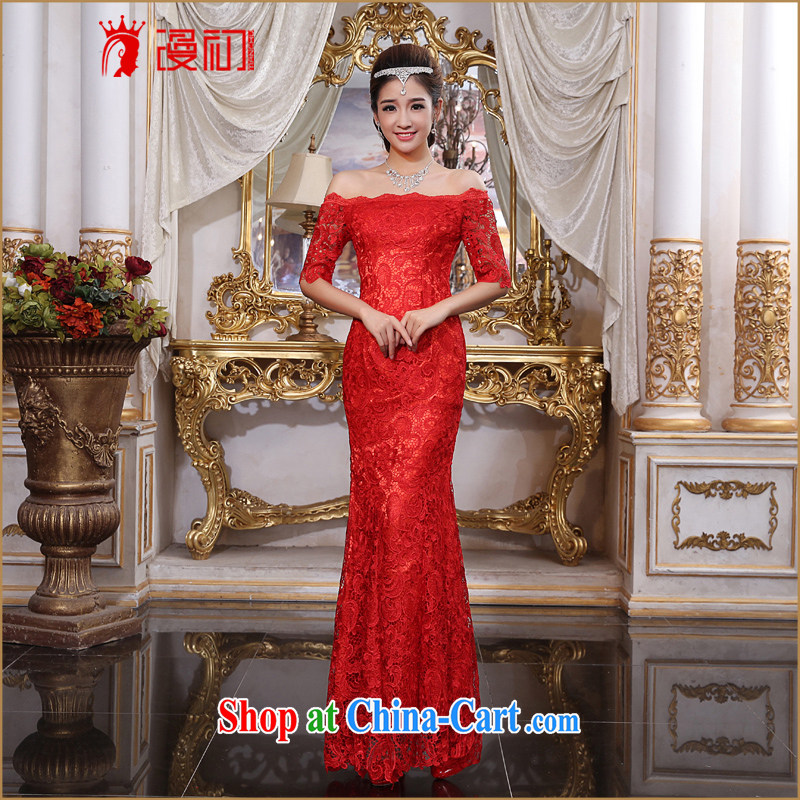 Early definition 2015 New Field shoulder bridal wedding dress toast service banquet at Merlion tie with red dress red XXL