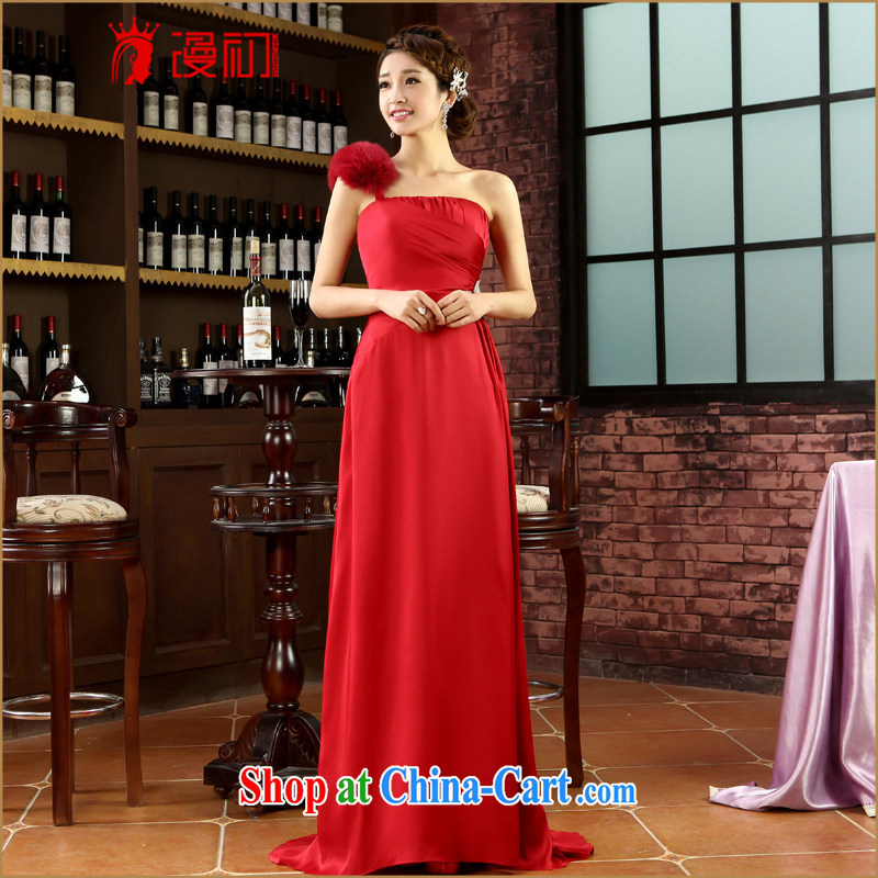 Early definition 2015 new dress, shoulder-length, toast wedding service banquet Evening Dress dress spring and summer Fox hair dress red XXL
