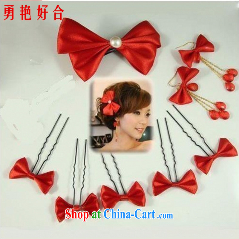 Yong-yan and HG 9 bridal jewelry bridal head-dress and adornment Korean-style bow-tie Korean-style head-dress, with red bow tie red