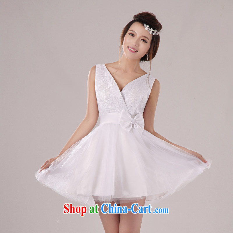Baby bridal 2014 wedding dresses shoulders Deep V collar sexy elegant knowledge of small dress banquet dress uniform chair bridesmaid dress dress sister dress white L