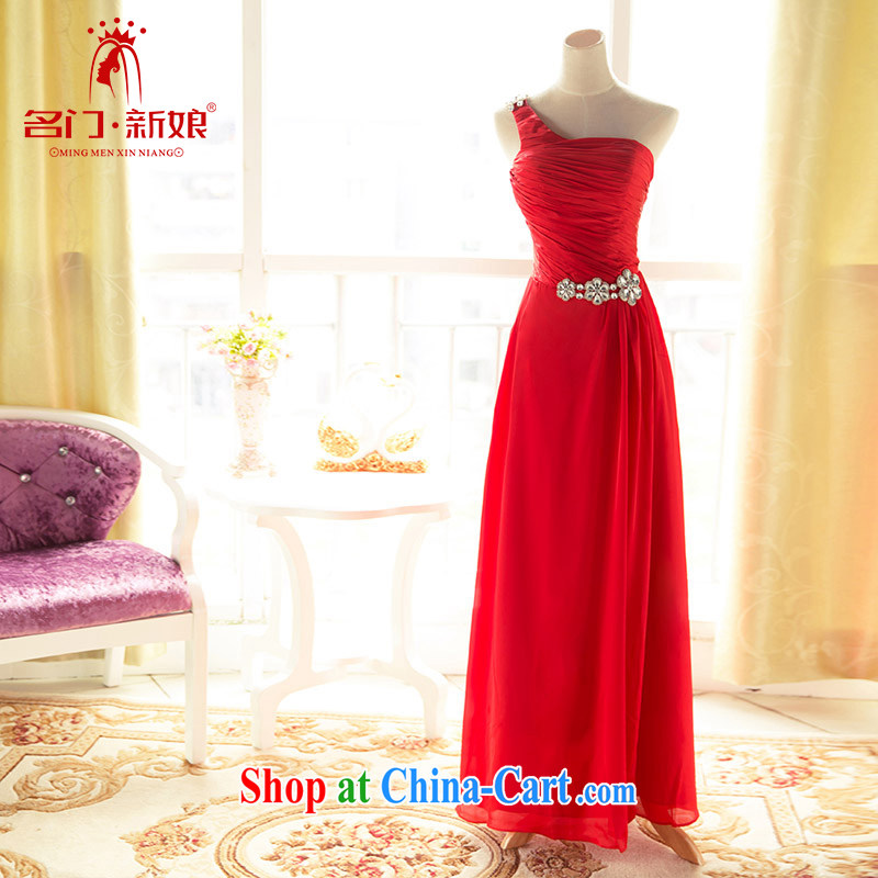 The bride's wedding dresses wedding dress uniform toast the shoulder dinner serving long fall dress 241 red M