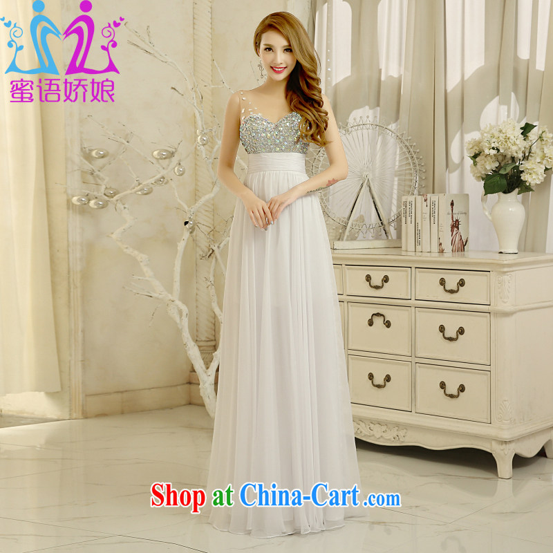Honey, bride 2015 new marriage ceremony V Ms. collar long stylish brides with toast service annual meeting of persons chairing evening dress white M