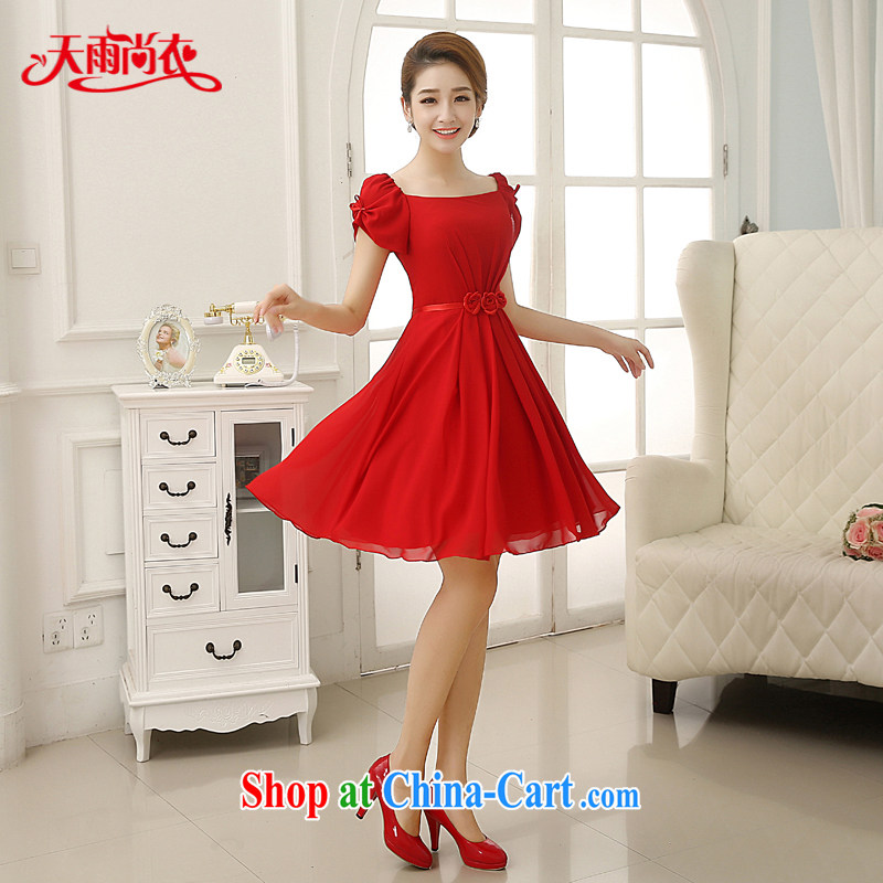 Rain Coat is stylish and marriages 2015 new wedding dresses short bows clothing red short-sleeve sweet bridesmaid dresses small LF 198 red S