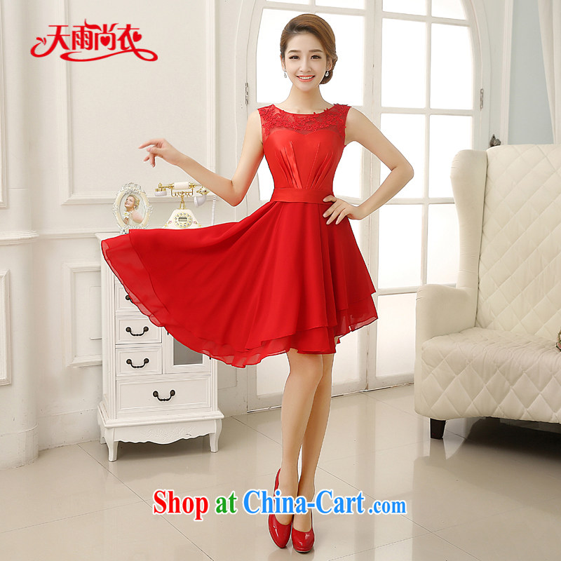 Rain was Yi marriages 2015 new dresses wedding red lace fashion toast clothing sweet bridesmaid short small dress LF 201 red XXL