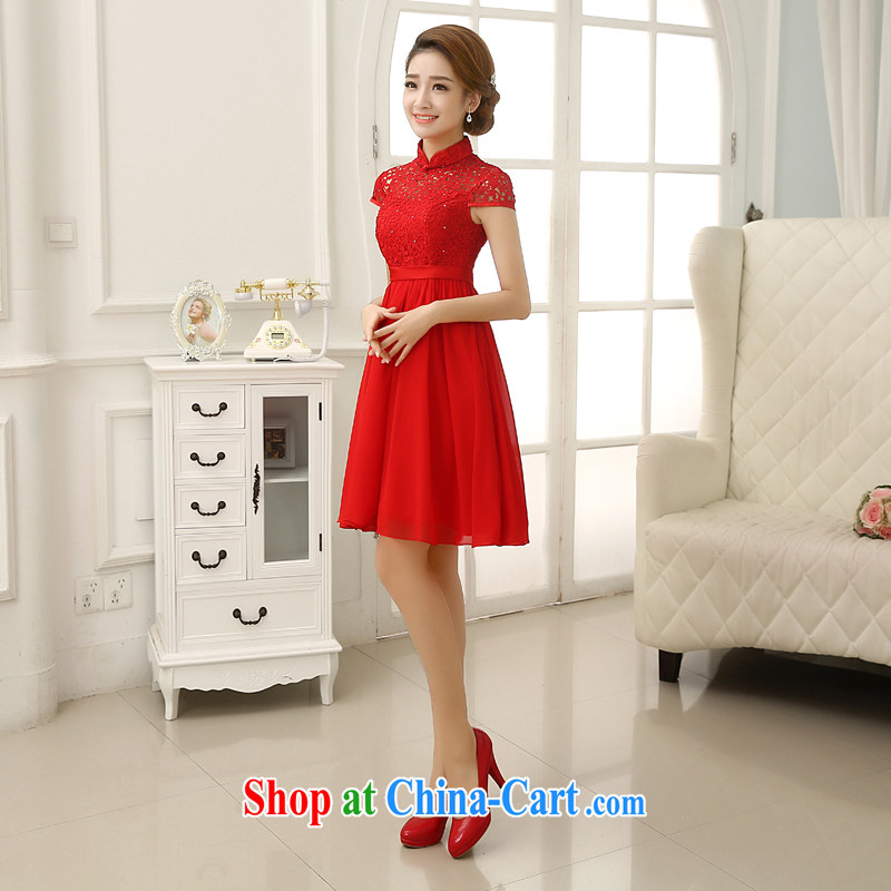 Rain is still Yi marriages 2015 new wedding Korean-style, high-waist pregnant toast clothing lace snow woven short skirts short, small dress LF 202 red XL, rain is clothing, and shopping on the Internet