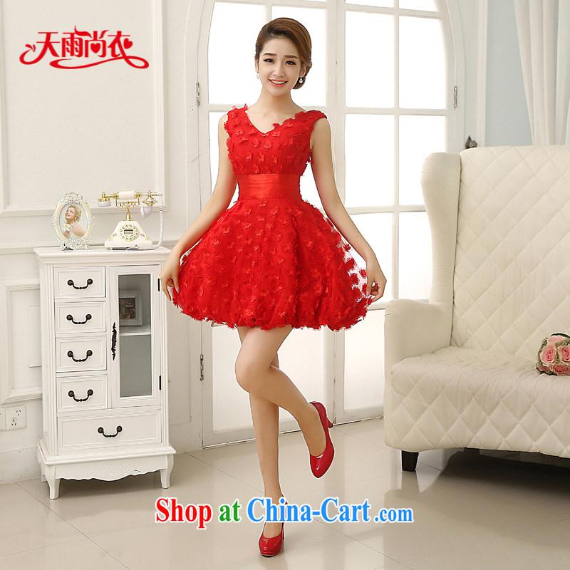 Rain Coat yet stylish marriages 2015 new wedding sweet Princess skirts shaggy lantern skirt waist-shoulder V for bridesmaid dresses small LF 203 red XXL