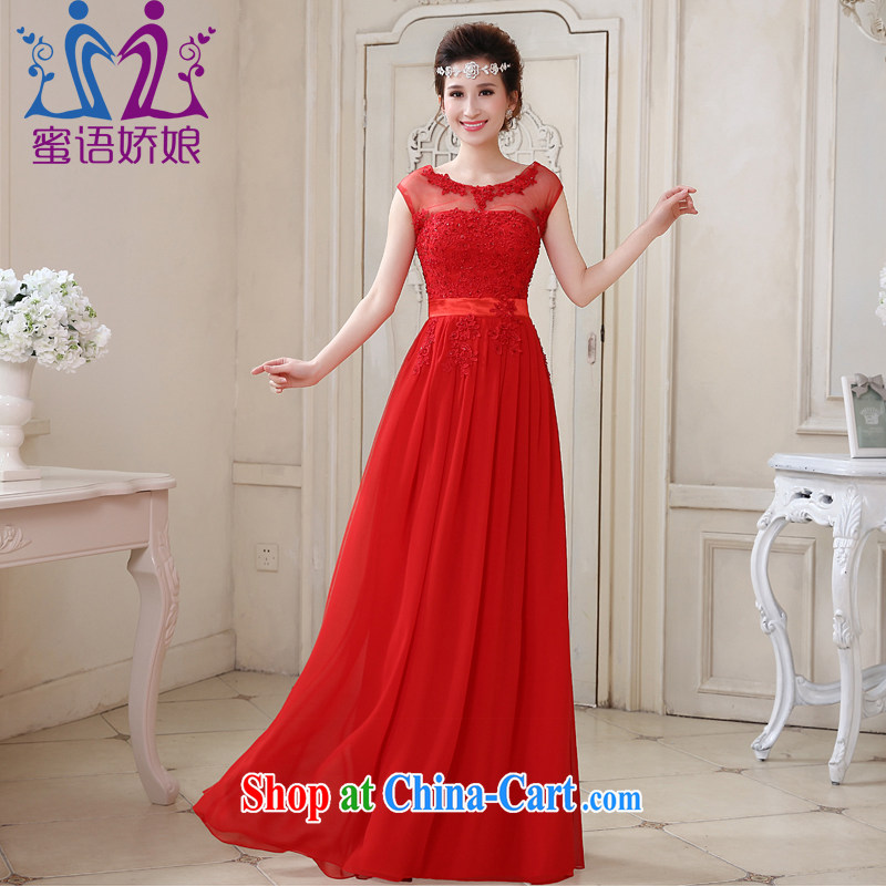 Honey, bride 2015 New a field package shoulder collar long bridal wedding dress red dress uniform toast bridesmaid dress red XXL