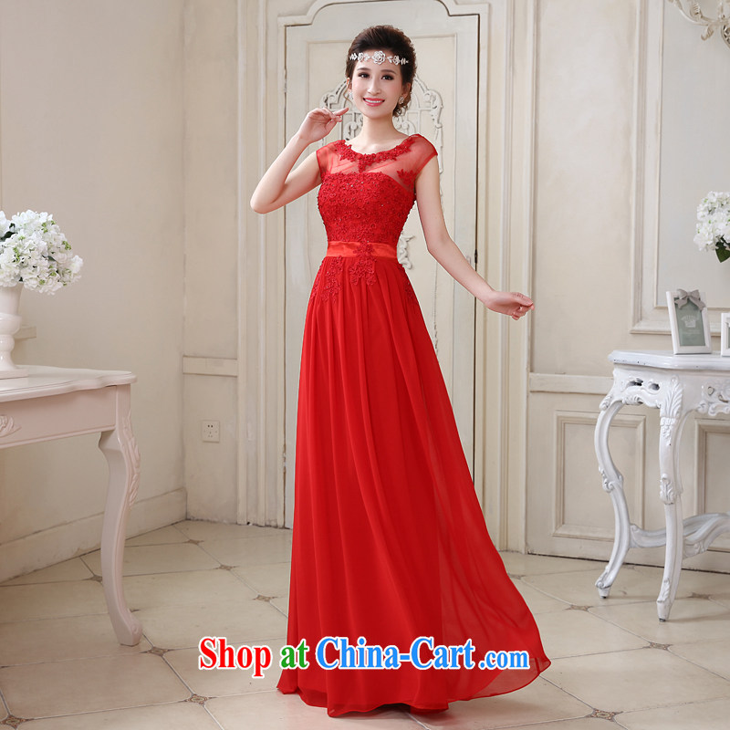 Honey, bride 2015 New a field package shoulder for long, bridal wedding dress red dress uniform toast bridesmaid dress red XXL, honey, bride, shopping on the Internet