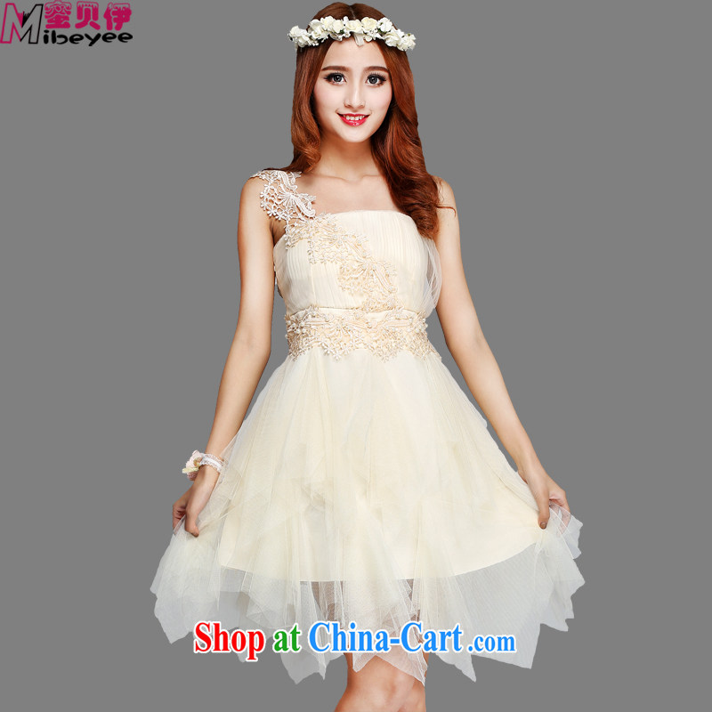 Honey, Addis Ababa new tick blossoms silk yarn does not rule Shaggy, with the shoulder the shoulder Evening Dress wedding bridesmaid dress uniform toasting performances table graduation beige are code