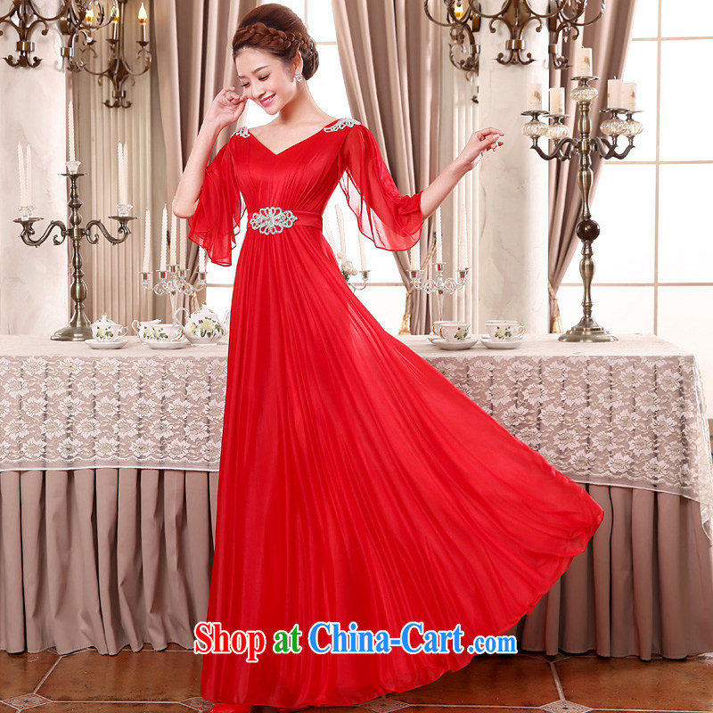 A good service is 2015 new large red code bridal wedding dress long, thick MM Evening Dress evening dress uniform toast red 9 XL