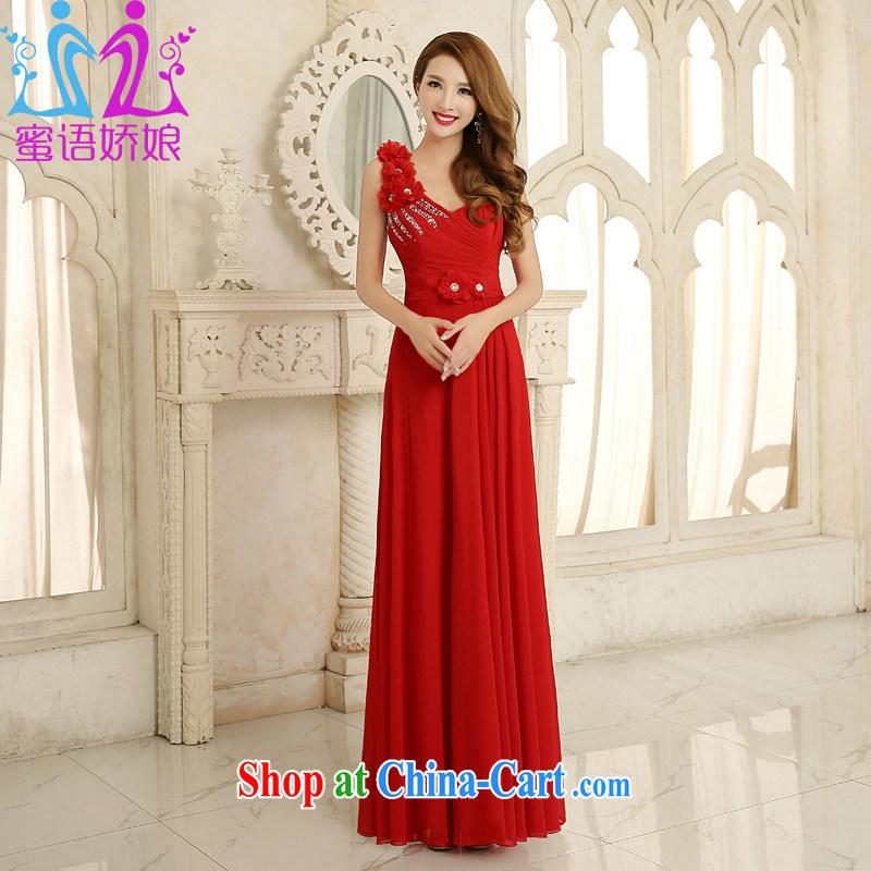 Honey, bride dress 2015 new toast serving long single shoulder and elegant and stylish bridal Evening Dress Women's Code Korean dress red L