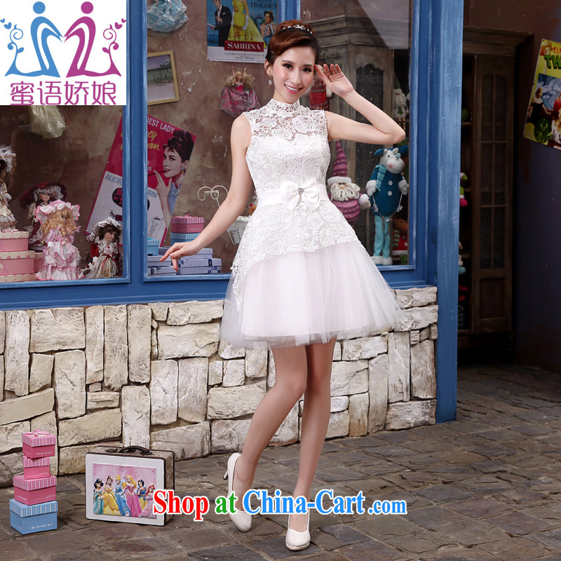 Honey, bride 2015 new white short wedding dresses bridesmaid clothing lace Princess Korean betrothal small dress the annual white dresses XXL