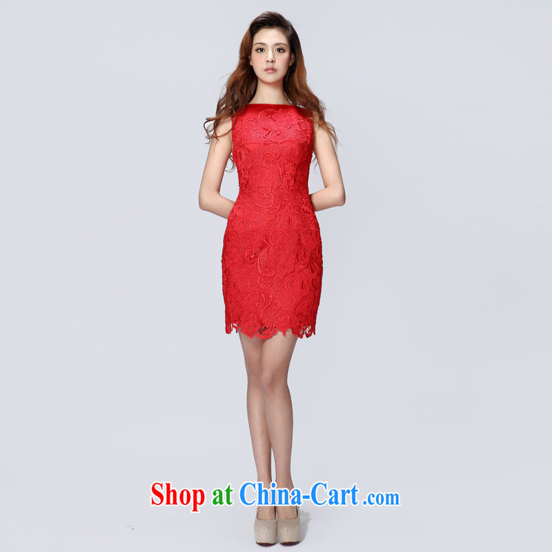 A yarn 2015 new marriage toast served a summer field shoulder lace mini dress short 30220740 red XL code 160 /92