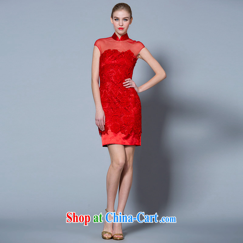A yarn 2015 new toast serving short Chinese, for red lace short-sleeved wedding dresses the dress 40121017 red L code 165 _88 in stock