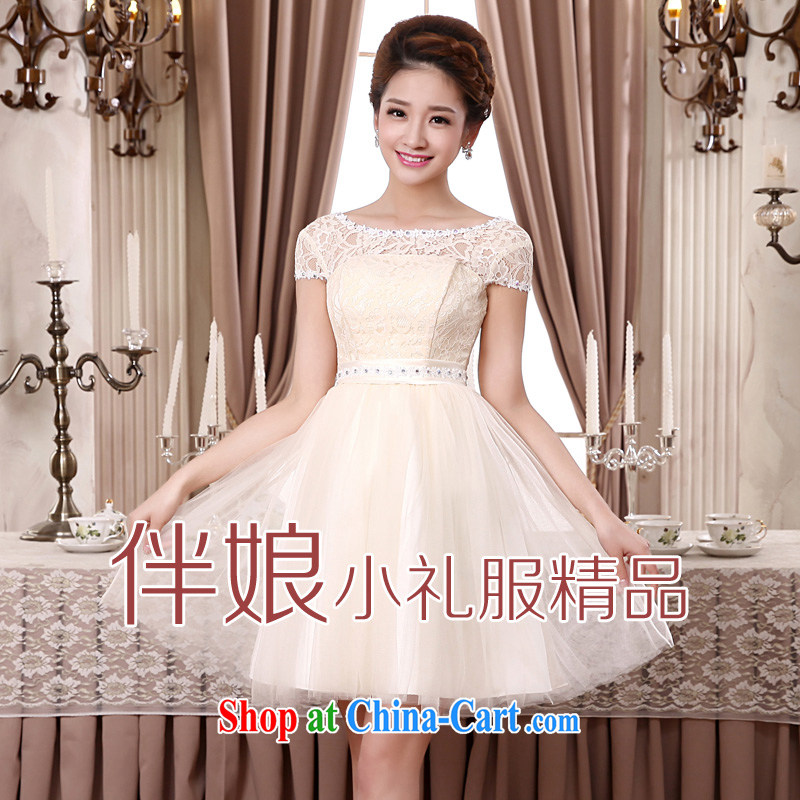 A good service is 2015 new marriage short toast bridesmaid mission bridesmaid dress shaggy dress small dress evening dress champagne color 2 XL