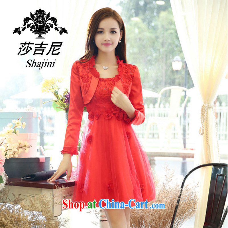 Windsor, 2014, new name-yuan Hong Kong small wind long-sleeved cultivating high A field dresses wedding dress two piece Girls fall 9905 load D Red XXL