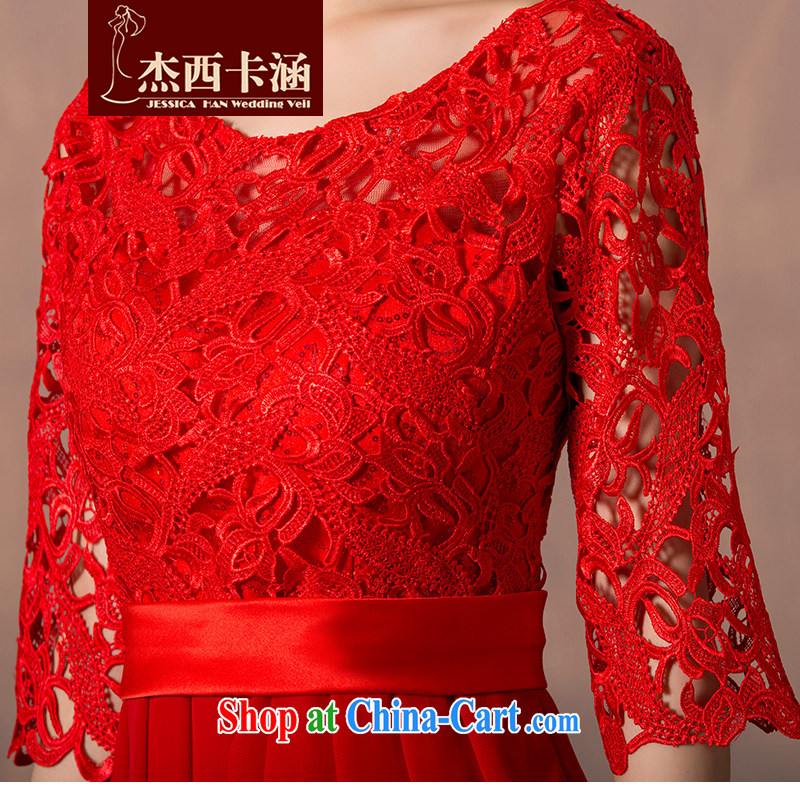 Jessica covers bridal wedding dresses 2014 new toast one field shoulder lace cuff in red short evening dress upscale beauty graphics thin 5101 red short XXXL, Jessica (jessica han), online shopping