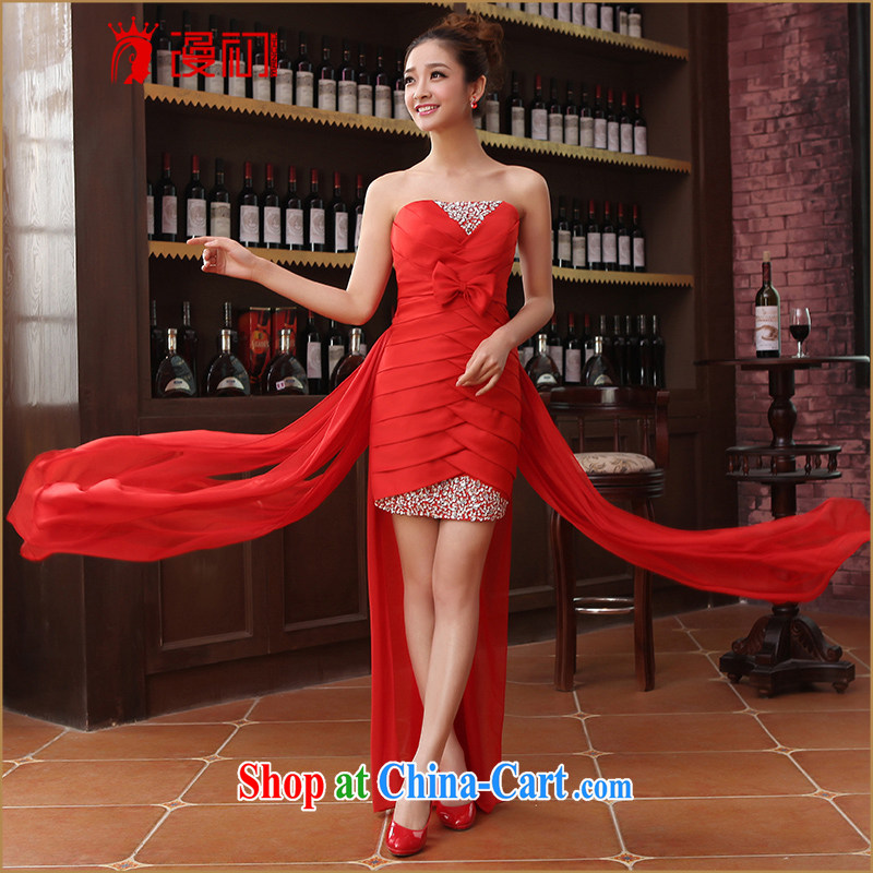 Early definition 2015 new marriages wedding dresses short before long small dress skirt wipe chest bridesmaid clothing dress red XXL