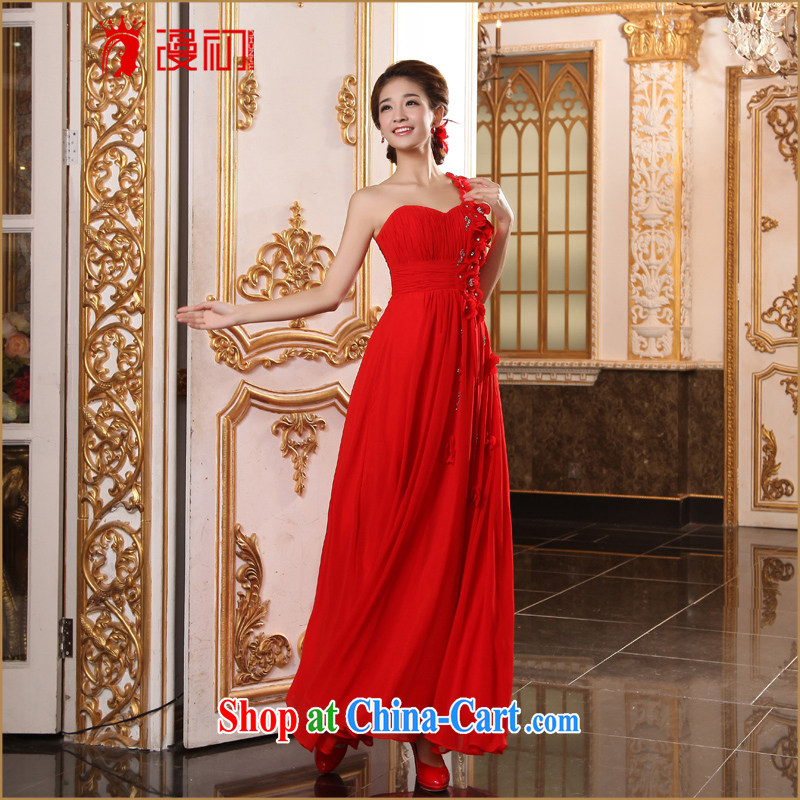 Early spread new marriages bows long dress elegant single shoulder red dress banquet evening dress red XXL