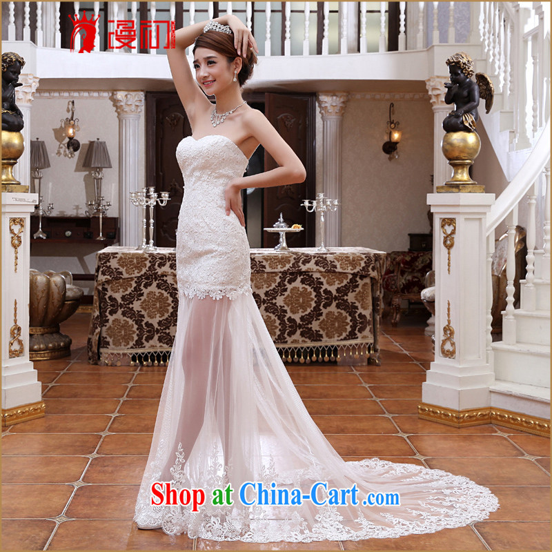 Early definition wedding dresses 2015 spring and summer new sexy lace fluoroscopy small tail Korean video thin sweet bridal white XXL, diffuse, and shopping on the Internet
