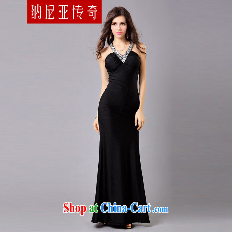 The Chronicles of Narnia 2015 New Evening Dress long skirt upscale banqueting cultivating V collar dress wedding bridesmaid dress dress black L