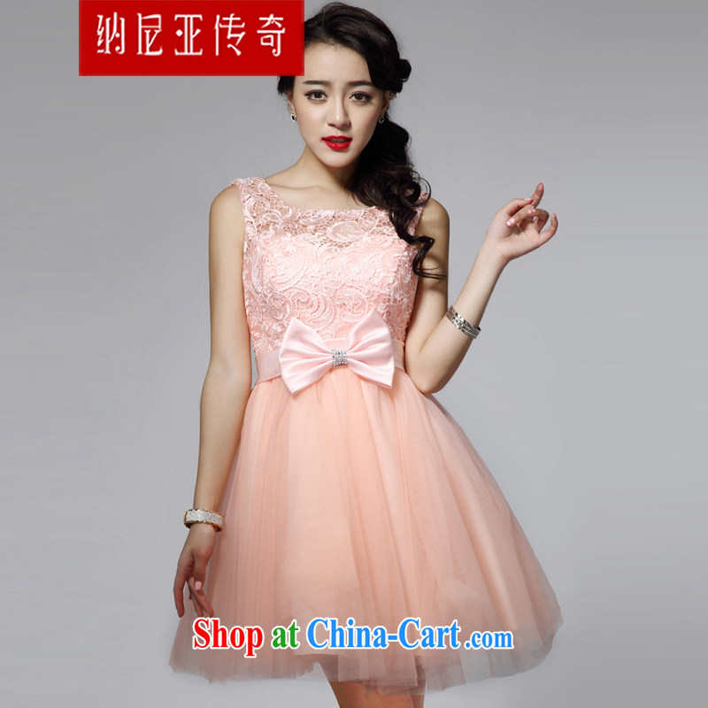 The Chronicles of Narnia 2015 New red bow tie small dress lace sexy Princess bridesmaid dress dress pink N 14 - 31,405 M