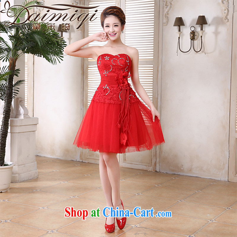 Diane M Ki bridal dresses 2014 marriage betrothal toast clothing bridesmaid dresses small firm red Korean chest bare lace short skirt sisters skirt red XXL