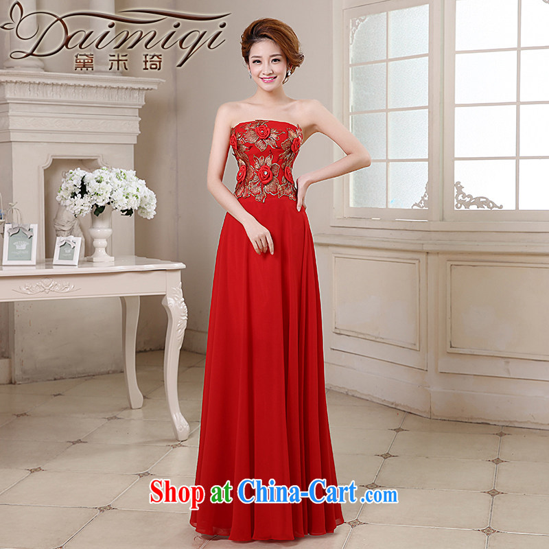 Diane M Ki bridal dresses 2014 new bride wedding toast stage moderator evening dress graphics thin three-dimensional handmade flower embroidery erase chest gown red XXL