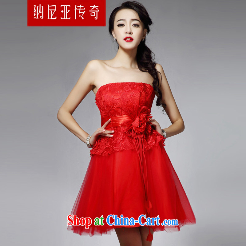 The Chronicles of Narnia 2015 New Red erase chest small dress girl lace sexy Princess dress bridesmaid dress dress Red N 14 - 31,406 M