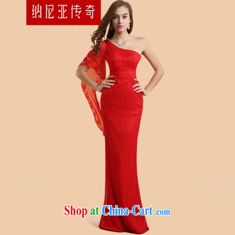The Chronicles of Narnia bridal toast served in Europe 2015 new single shoulder red aura, a shoulder dress banquet dress Red N 14 - 51,303 XL