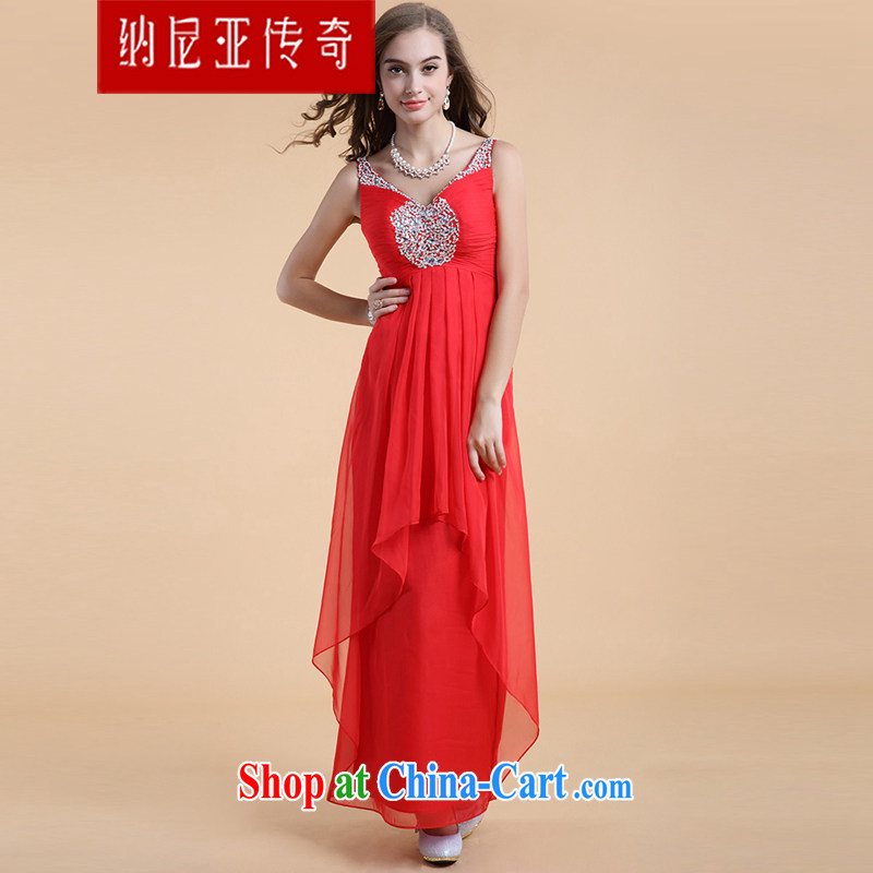 The Chronicles of Narnia red Deep V bridesmaid serving the shoulder beauty bridal wedding toast serving new, long evening dress Red N 14 - 3515 L