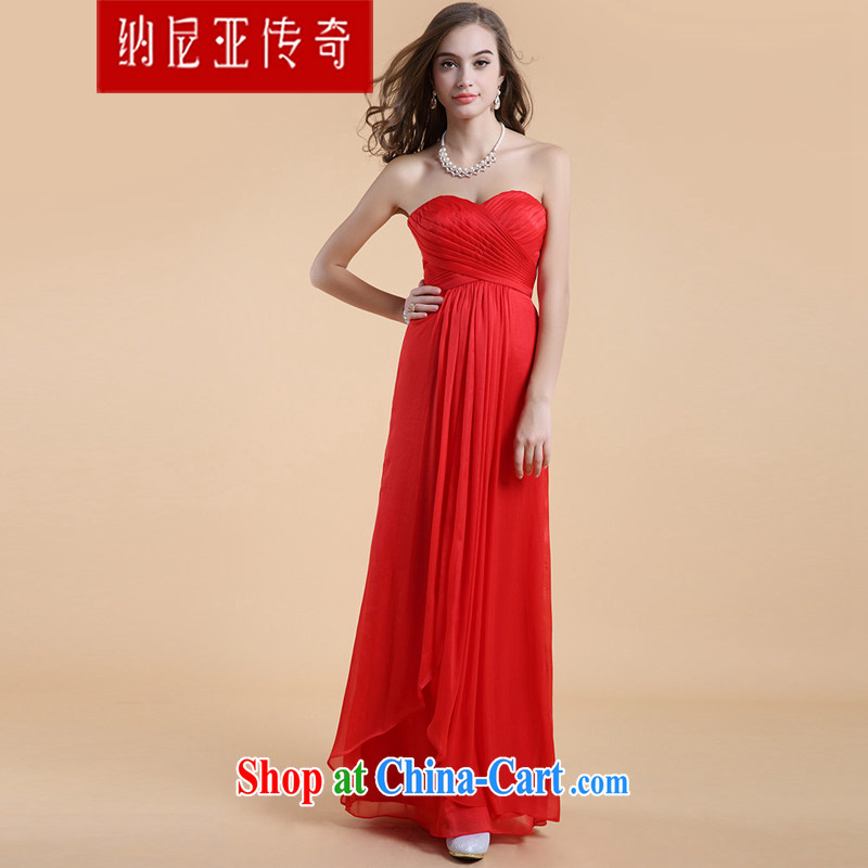 The Chronicles of Narnia bare chest toast serving women 2015 New Red stylish wiped his chest bridesmaid service long banquet dress Red N 14 - 3504 L