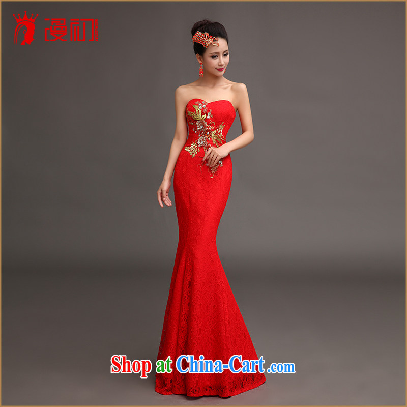 Definition 2015 early marriage bows dress long lace beauty graphics thin evening dresses at Merlion hosted service performance red.