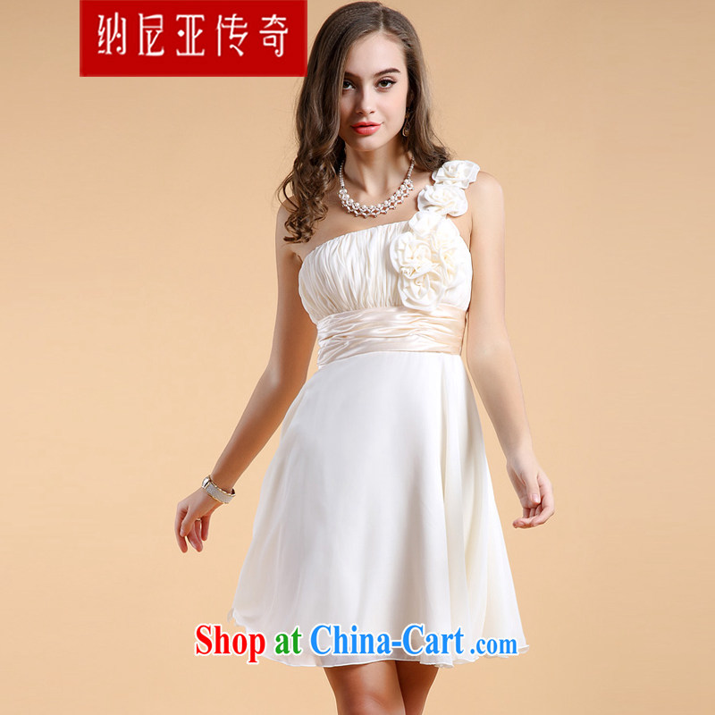 The Chronicles of Narnia bridesmaid 2015 service dress single shoulder with flowers new erase chest small dress short skirt apricot N 14 - 11,302 XL