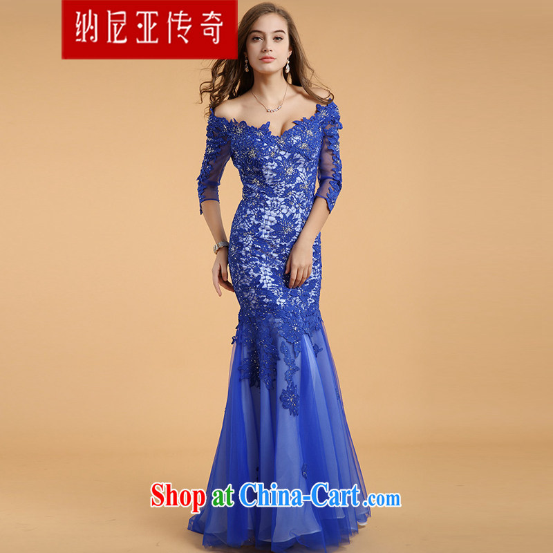The Chronicles of Narnia 2015 New Evening Dress long-tail crowsfoot skirt V collar long-sleeved lace dress blue XL