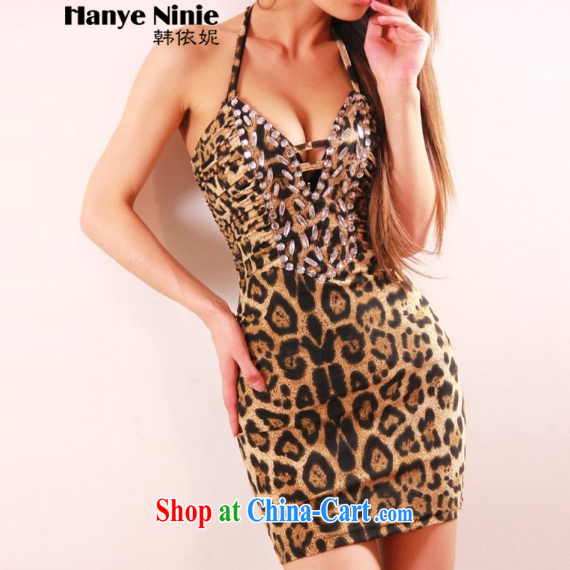 According to Korea Connie 2015 new European and American night with Ultra Low chest sexy back exposed tight package and leopard is also dress 1195 picture color code