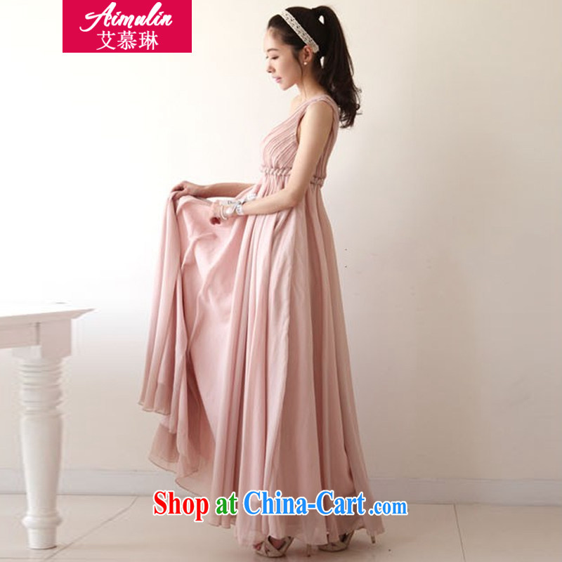The MO Lin (AIMULIN) Autumn 2014 the new bridesmaid dresses short dresses the bride toast wedding clothes stylish wedding dresses 898 pink long XXL