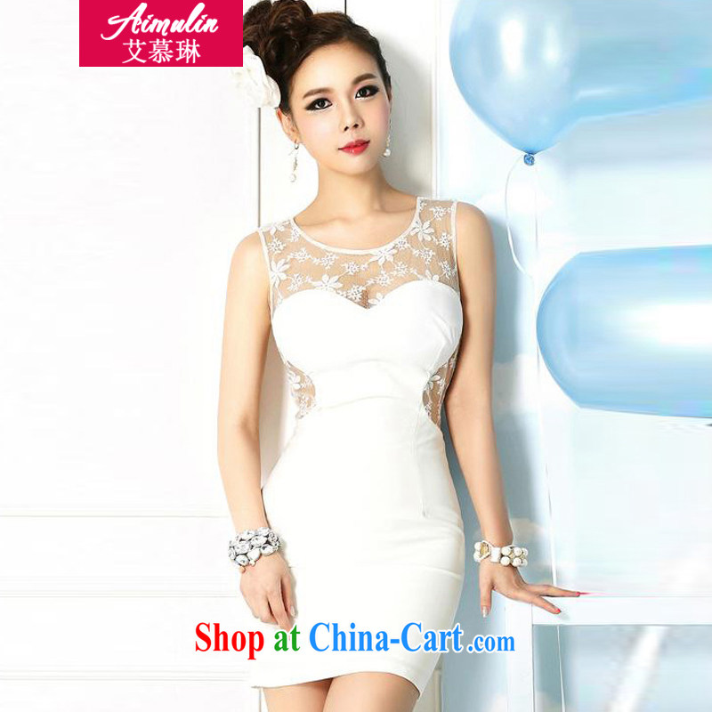 With the Lin (AIMULIN) Autumn 2014 the new Korean sense of the waist exposed the package and dress dresses 1832 white are code